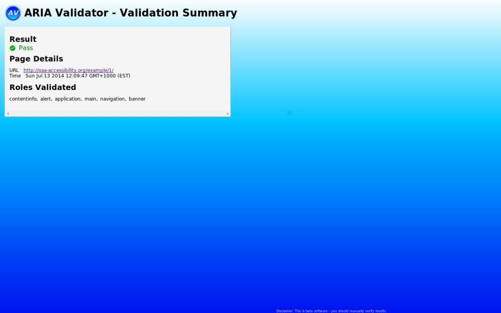תמונת תצוגה של הכלי ARIA Validator